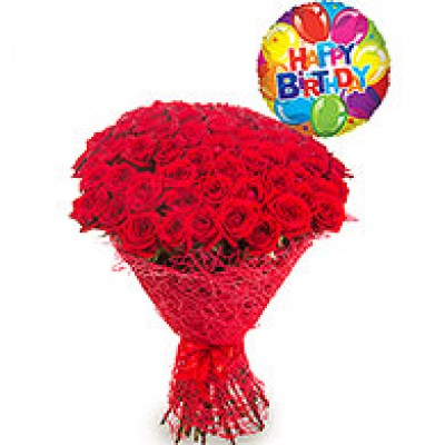 3O Red Roses With Happy Birthday Baloon