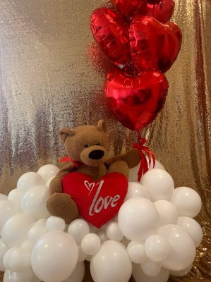 Teddy-on-Clouds-with-Red-Heart-Shape-Foil-Balloons-main-photo